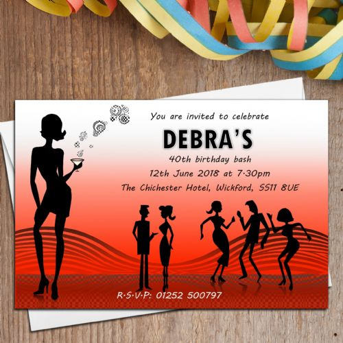 10 Personalised Disco Birthday Party Invitations N1